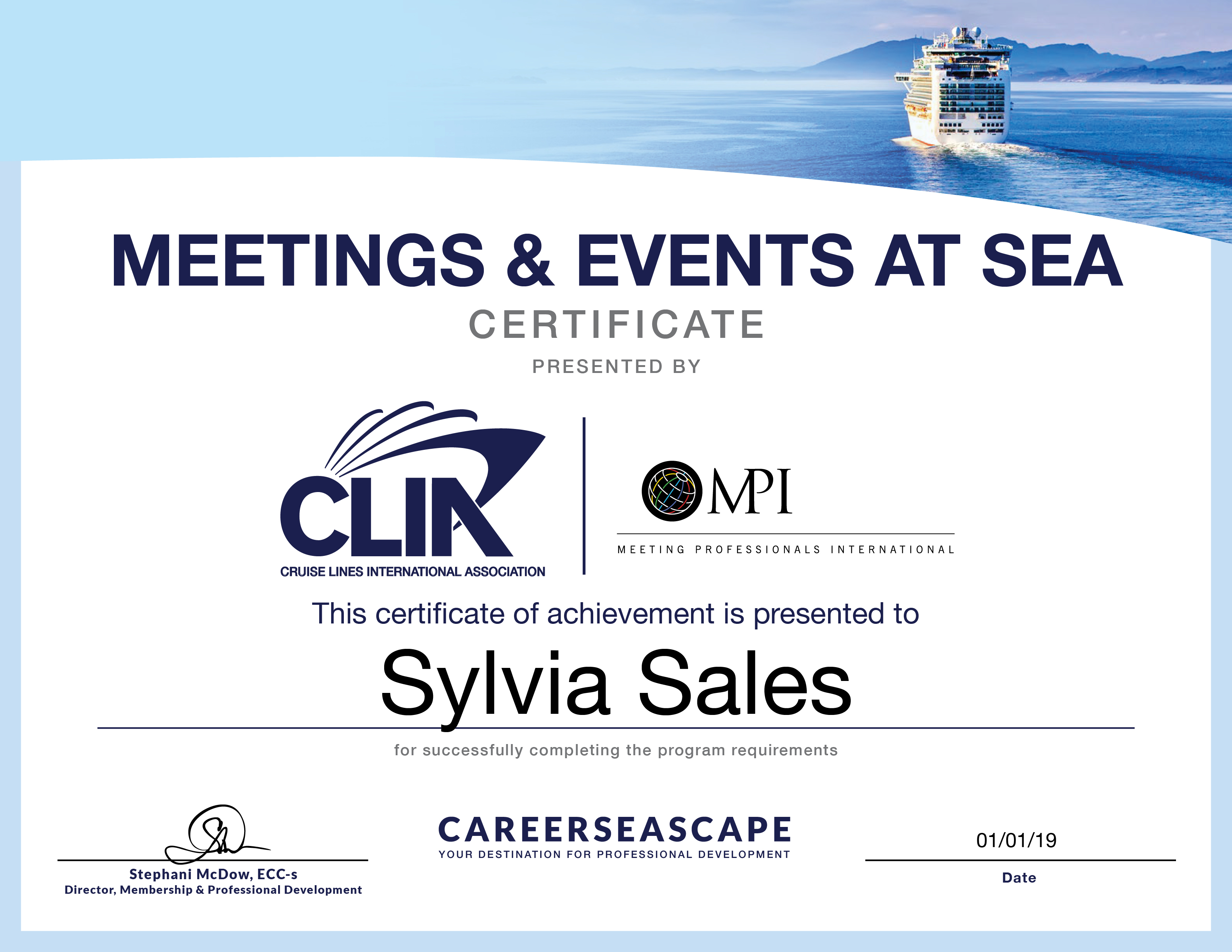 Meetings & Events at Sea Certificate